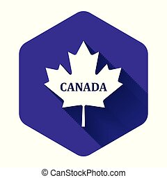 隔離された, カナダ, 葉, カナダ, 白, 六角形, shadow., 紫色, button., かえで, 都市, 名前, イラスト, ベクトル, 長い間, アイコン