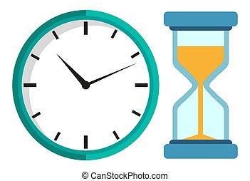 隔離された, ガラス, 時間, 機械, ベクトル, 時計