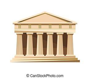 隔離された, ギリシャ語, 背景, 白, 寺院, アイコン