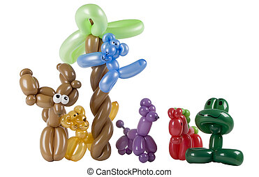 隔離された, グループ, balloon, 動物, 白