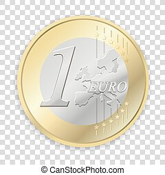 隔離された, コイン, ユーロ, 背景, 透明