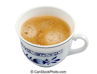 隔離された, コーヒー, 白, 上に, カップ