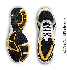 隔離された, スポーツの 靴, 背景, 流行, 白