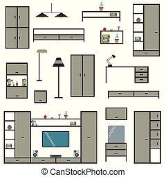 隔離された, セット, バックグラウンド。, 漫画, 家具, 大きい, 家, 白