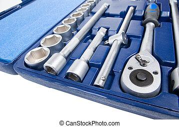 隔離された, セット, 金属, tools., 白