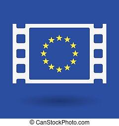 隔離された, セルロイド, フィルム, フレームアイコン, ∥で∥, ∥, eu, 旗, 星