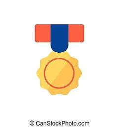 隔離された, デザイン, ベクトル, メダル, 金, アイコン