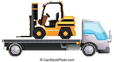 隔離された, トラック, 背景, フォークリフト, 平台トラック