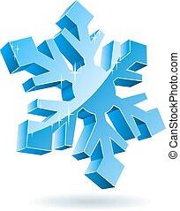 隔離された, バックグラウンド。, ベクトル, 白い雪片, 3d
