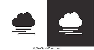 隔離された, バックグラウンド。, 天候, 霧, 黒, 重い, ベクトル, cloud., イラスト, 白, アイコン