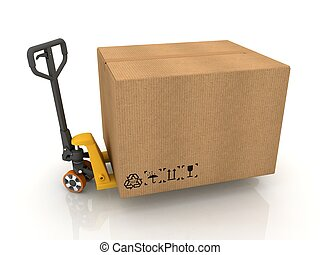 隔離された, パレット, 箱, トラック, 白, ボール紙