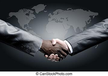 隔離された, ビジネス, 握手