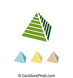 隔離された, ピラミッド, ベクトル, アイコン, 三角形, 抽象的, 3d, 背景, ロゴ, 白