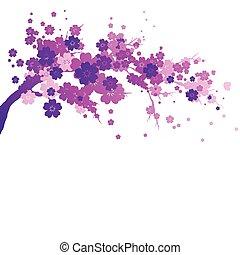 隔離された, ピンク, 白い花, 木