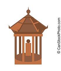 隔離された, ベクトル, 古い, 寺院, アイコン