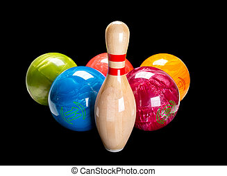 隔離された, ボウリング, 黒, ピン, 木製である, バックグラウンド。, ball.