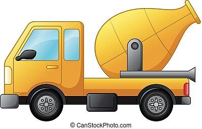 隔離された, ミキサー, コンクリート, トラック, 背景, 白