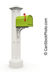 隔離された, メールボックス, 緑, レトロ, 背景, 白