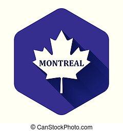 隔離された, モントリオール, 葉, カナダ, 白, 六角形, shadow., 紫色, button., かえで, 都市, 名前, イラスト, ベクトル, 長い間, アイコン