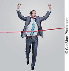 隔離された, ライン。, 動くこと, によって, ビジネスマン, 仕上げ, 白, 幸せ