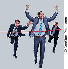 隔離された, ライン。, 動くこと, によって, white., ビジネスマン, 仕上げ, 幸せ
