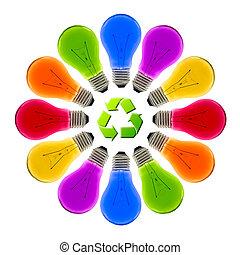 隔離された, リサイクルしなさい, 電球, 印, ライト, カラフルである