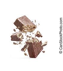 隔離された, ワッフル, 半分, 壊される, 背景, 白いチョコレート