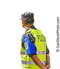 隔離された, 光景, 背中, 警官, 写真