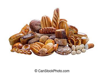 隔離された, 回転する, bread, 構成, 白