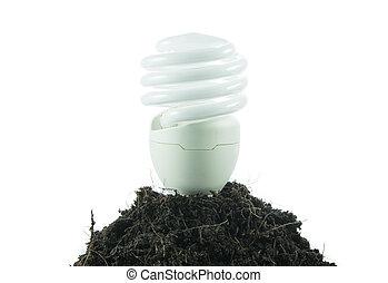 隔離された, 土壌, 電球, 山, エネルギー, 概念, 正式の許可