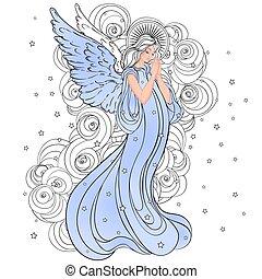 隔離された, 型, スタイル, illustration., 手, element., 翼, 交差点, 女の子, 天使, 最新流行である, ばら, ベクトル, halo., 引かれる