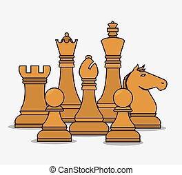 隔離された, 小片, デザイン, チェス, 人的資源