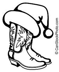 隔離された, 帽子, santa, バックグラウンド。, クリスマス, printable, ブーツ, 白, ベクトル, カウボーイ, 伝統的である, イラスト, グラフィック