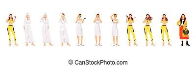 隔離された, 平ら, ルーチン, バックグラウンド。, 毛, 体, 顔, 色, の上, プロシージャ, 漫画, 朝, ...