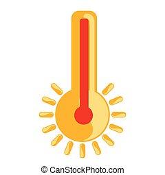 隔離された, 暑い, アイコン, 温度計