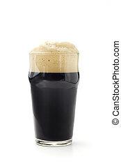 隔離された, 暗い, ビール, 背景, 白, パイント
