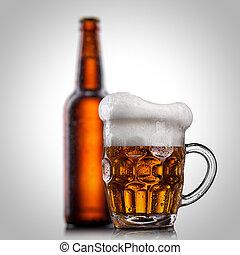 隔離された, 水 ガラス, ビール, 白, 低下