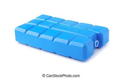 隔離された, 氷, 白, パック, 青