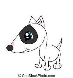 隔離された, 漫画, かわいい, 犬