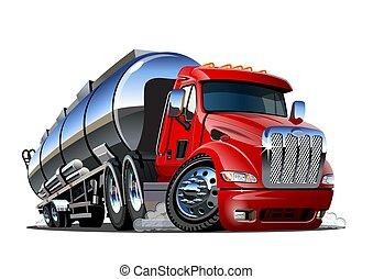 隔離された, 漫画, 背景, 白, トラック, タンカー, 半