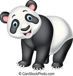 隔離された, 漫画, 背景, 白, パンダ, 幸せ