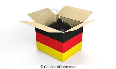 隔離された, 爆弾, 砲弾, 旗, バックグラウンド。, ドイツ, 白