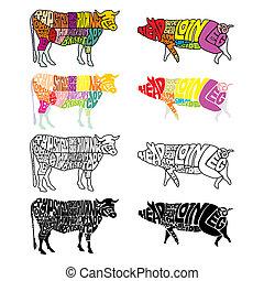 隔離された, 牛, 豚