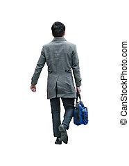 隔離された, 男歩行, 袋, 写真