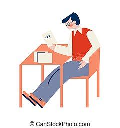 隔離された, 白, イラスト, ベクトル, モデル, black-haired, ガラス, 椅子, テーブル, textbooks., 人, 背景
