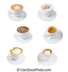 隔離された, 白, coffee., コレクション, カップ