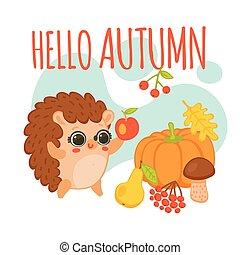 隔離された, 秋, 発言, かわいい, こんにちは, 漫画, ベクトル, イラスト, 平ら, ハリネズミ