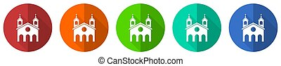 隔離された, 網, 白, オレンジ, セット, 平ら, デザイン, 教会, 青, イラスト, 緑, アイコン, ベクトル, 宗教, 背景, 赤, ボタン