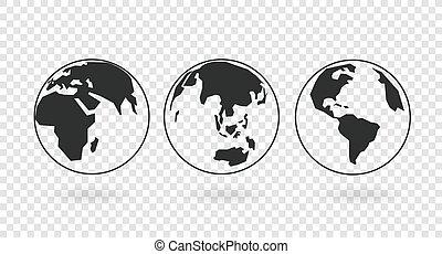 隔離された, 線である, ベクトル, 地球, 地球儀, 背景, 透明, コレクション, アイコン