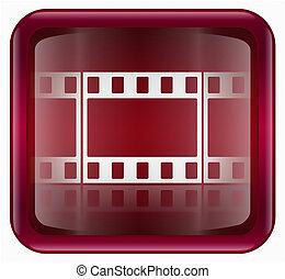 隔離された, 背景, 白, アイコン, フィルム, 赤